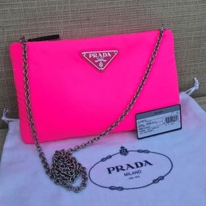 PRADA  PINK NYLON CROSS BODY CLUTCH BAG